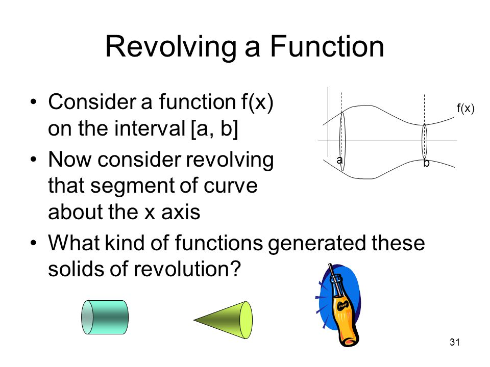 Revolving a Function Consider a function f(x) on the interval [a, b]